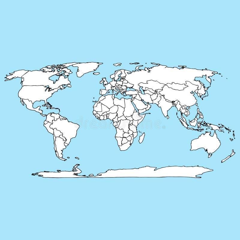 Icona mappa mondiale Mappa mondiale di contorno dell'illustrazione vettoriale Atlante disegnato a mano, globo, mappa del mondo illustrazione di stock