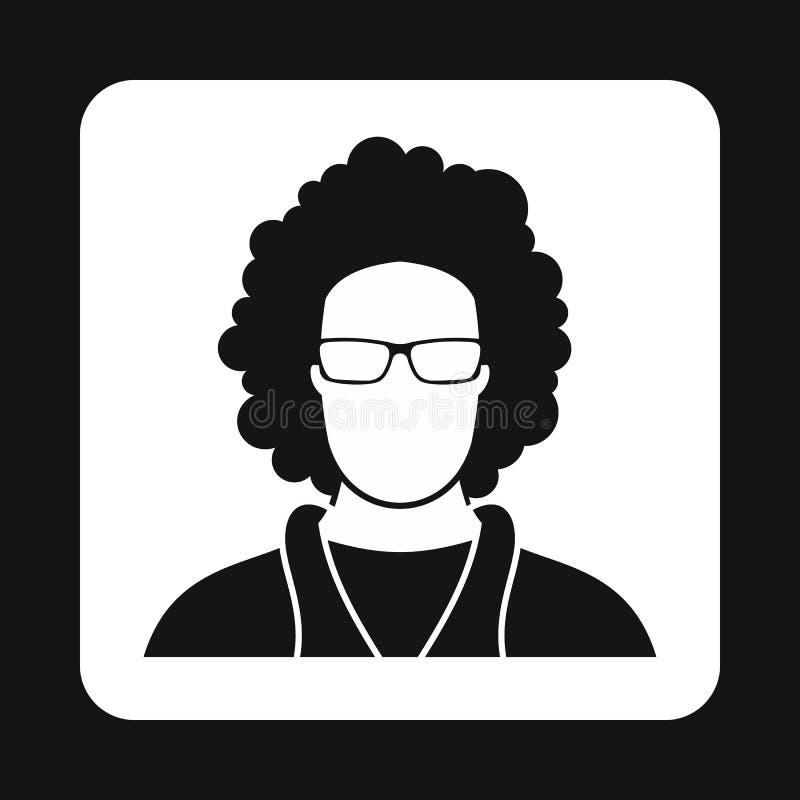 Icona maschio dell'avatar di afro, stile semplice illustrazione vettoriale