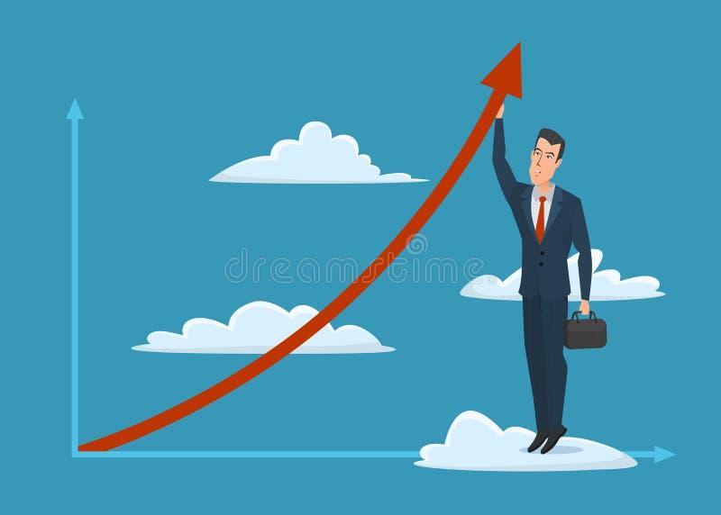 Icona maschio di affari della valigia dell'uomo di crescita della freccia della nuvola dell'uomo d'affari illustrazione di stock