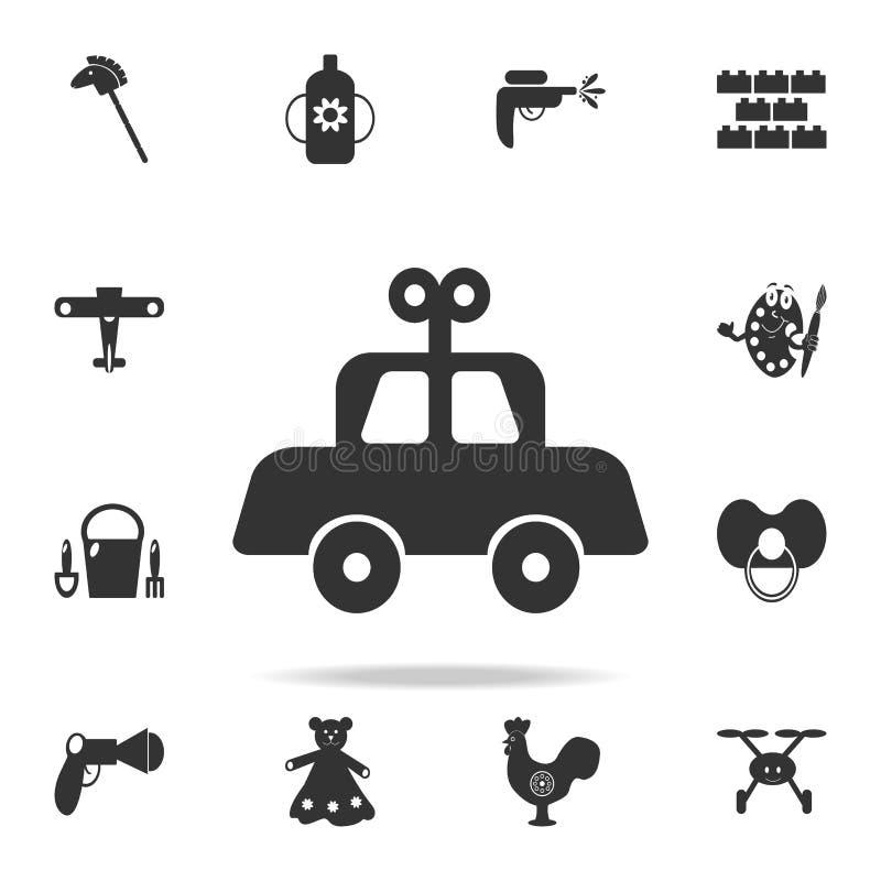 Icona meccanica del giocattolo del bambino dell'automobile L'insieme dettagliato del bambino gioca le icone Progettazione grafica illustrazione vettoriale