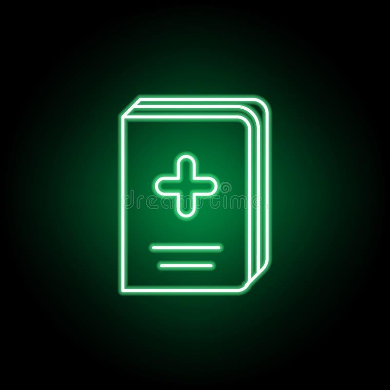 Icona medica del libro nello stile al neon Elemento dell'illustrazione della medicina I segni e l'icona di simboli possono essere illustrazione vettoriale