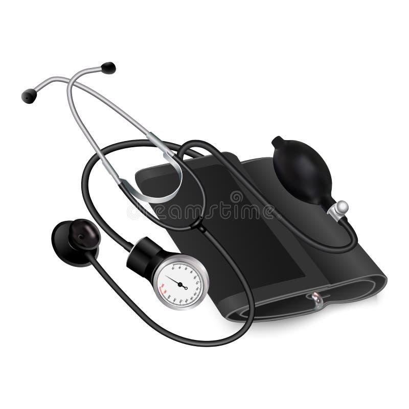 Icona medica del phonendoscope, stile realistico royalty illustrazione gratis