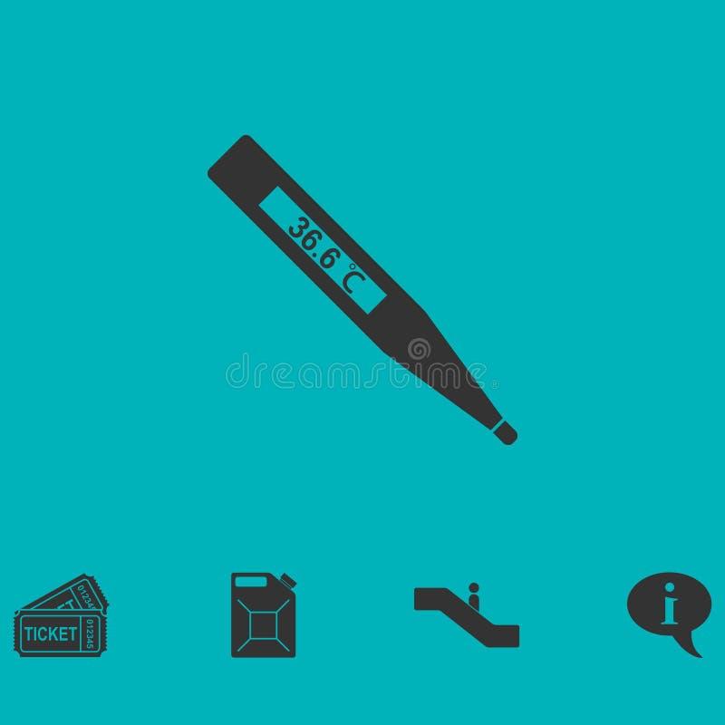 Icona medica del termometro piana illustrazione di stock