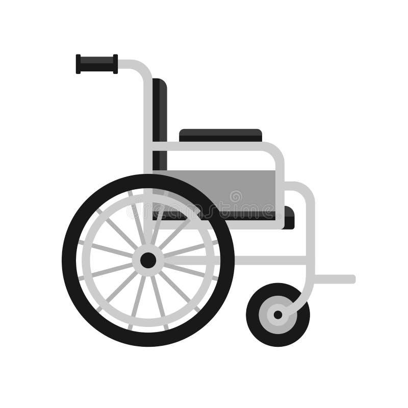 Icona medica della sedia a rotelle su fondo bianco Vettore illustrazione di stock