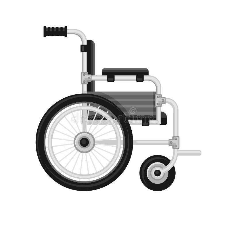 Icona medica della sedia a rotelle su fondo bianco Vettore illustrazione vettoriale