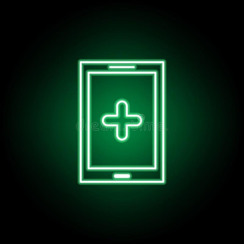 Icona medica dello smartphone nello stile al neon Elemento dell'illustrazione della medicina I segni e l'icona di simboli possono royalty illustrazione gratis
