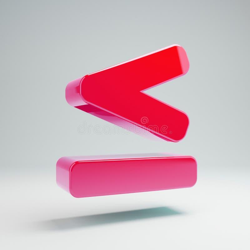 Icona meno uguale calda lucida volumetrica di rosa isolata su fondo bianco illustrazione di stock