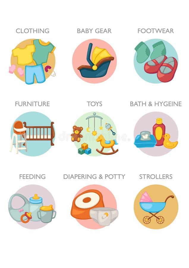 Icona messa - categorie di prodotti del bambino illustrazione vettoriale