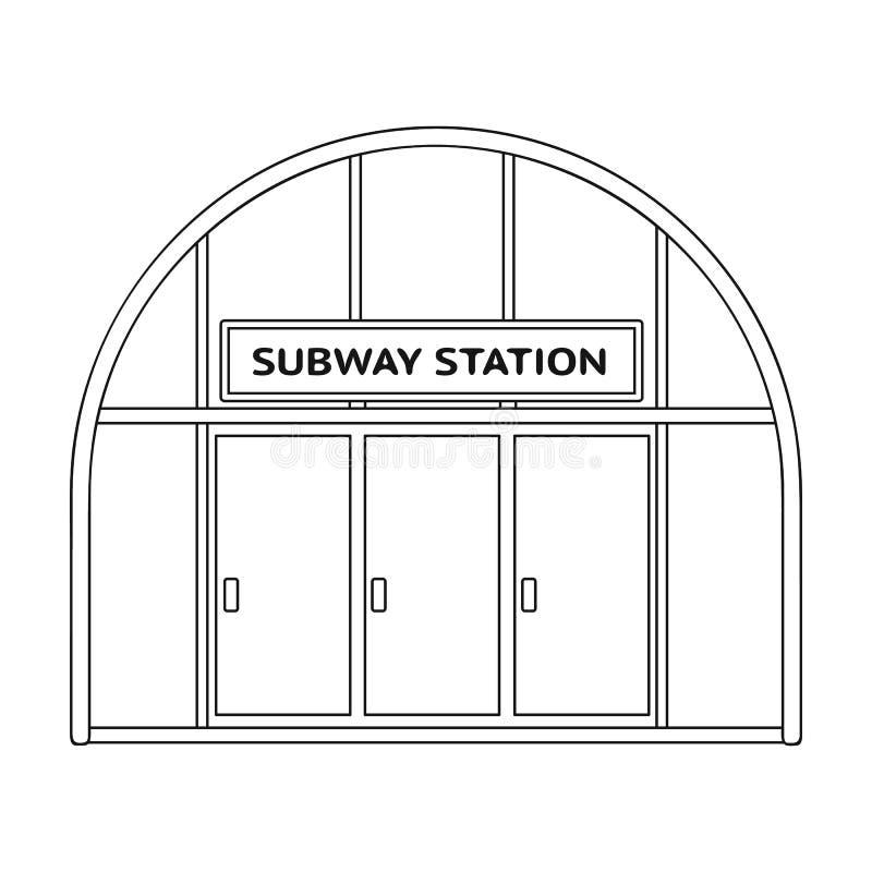 Icona metropolitana e singola nello stile del profilo Web metropolitano dell'illustrazione delle azione di simbolo di vettore illustrazione vettoriale