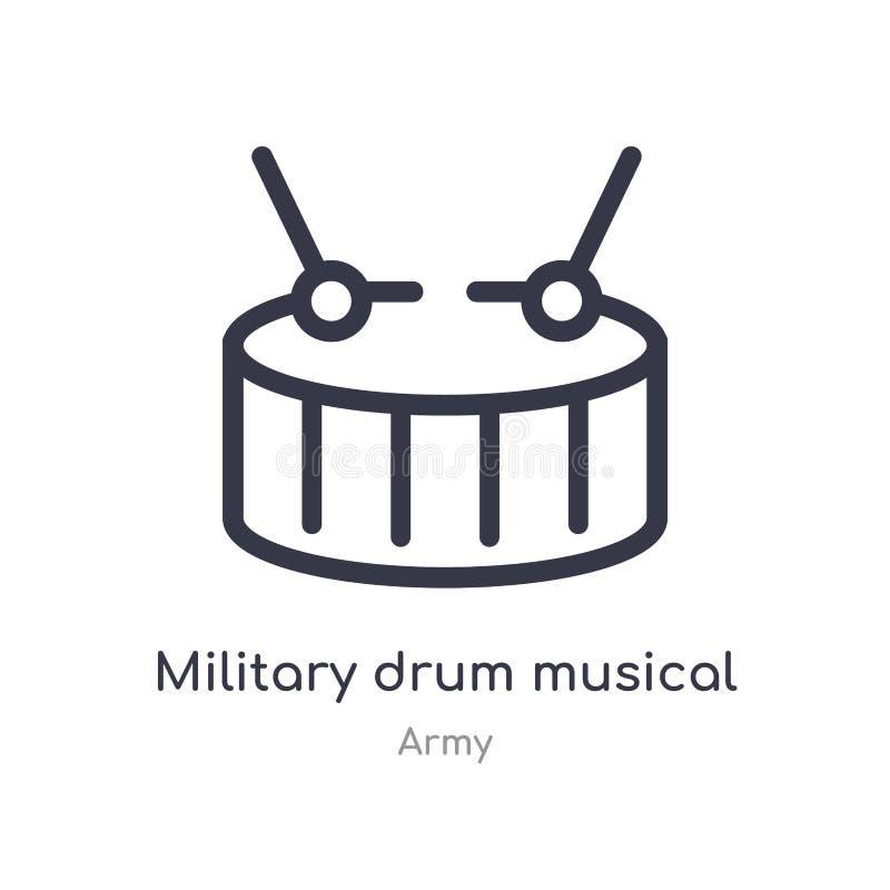 icona militare del profilo dello strumento musicale del tamburo linea isolata illustrazione di vettore dalla raccolta dell'eserci illustrazione di stock