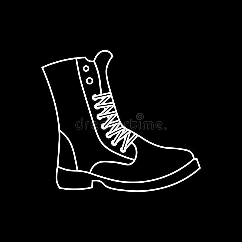 Icona militare delle scarpe Icona di vettore isolata stivale, icona di lavoro dello stivale, scarpe degli uomini illustrazione di stock