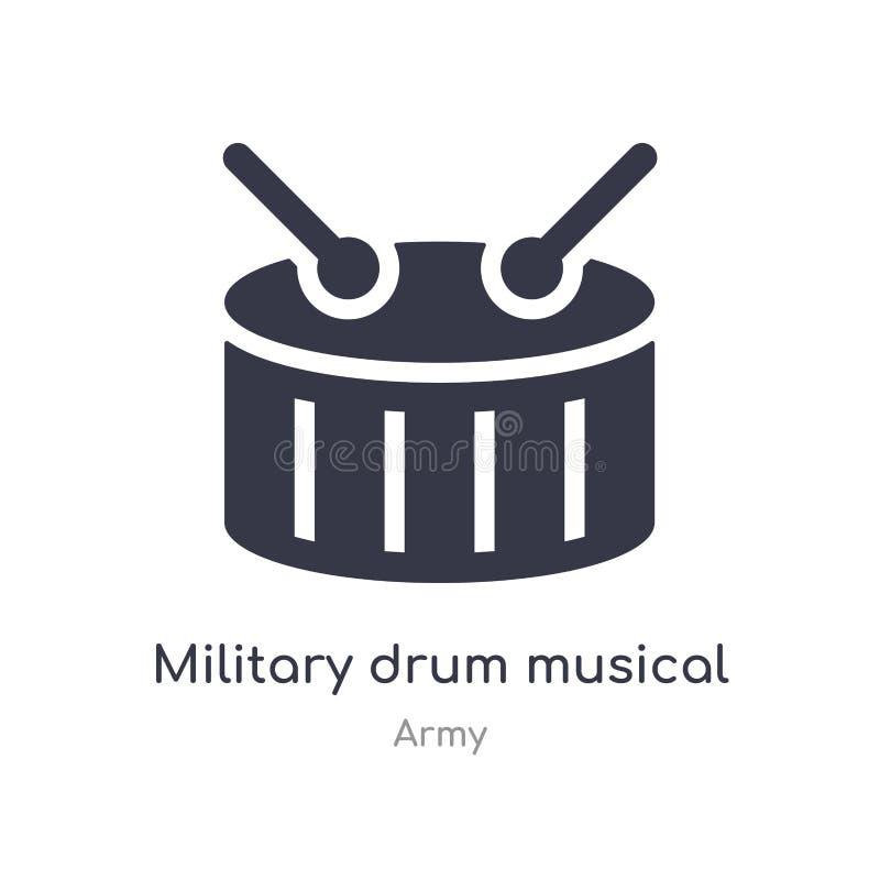 icona militare dello strumento musicale del tamburo illustrazione militare isolata di vettore dell'icona dello strumento musicale illustrazione vettoriale