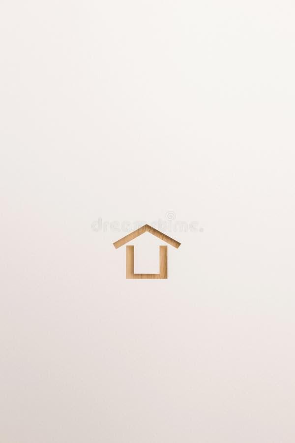 Icona minima strutturata di legno della casa su fondo bianco immagine stock libera da diritti