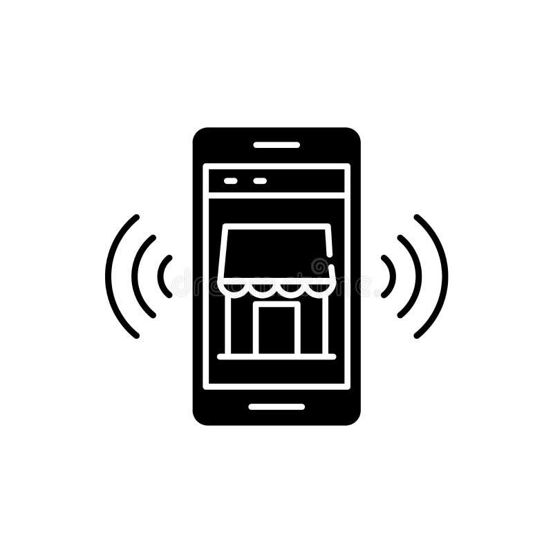 Icona mobile del nero della memoria elettronica, segno di vettore su fondo isolato Simbolo mobile di concetto della memoria elett illustrazione vettoriale