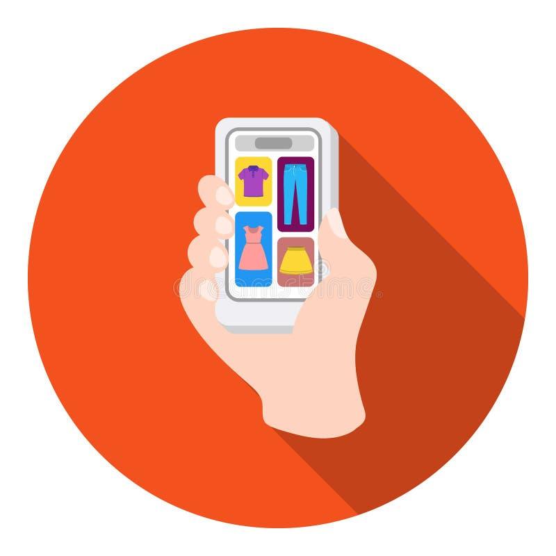 Icona mobile del onflat di acquisto nello stile piano su fondo bianco Illustrazione di vettore delle azione di simbolo di commerc illustrazione vettoriale