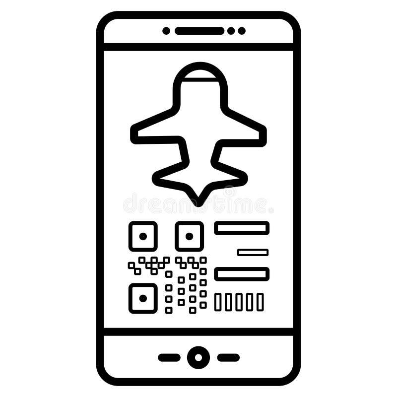 Icona mobile del segno di volo del passaggio di imbarco illustrazione di stock