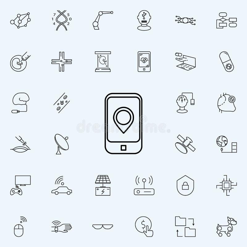 icona mobile di navigazione Insieme universale delle icone di nuove tecnologie per il web ed il cellulare illustrazione vettoriale