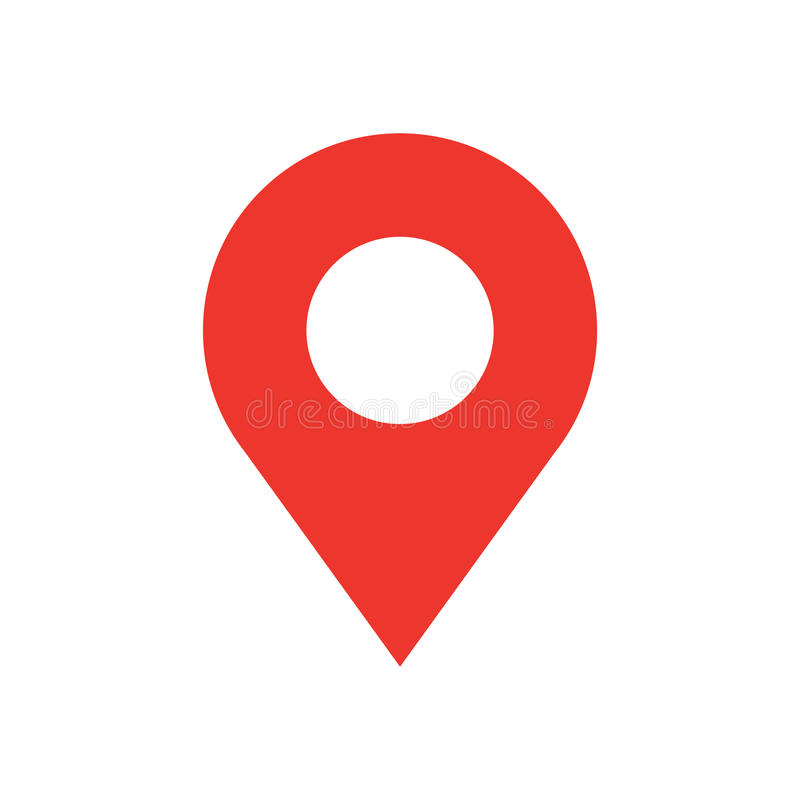 Icona moderna di stile piano di progettazione del perno della mappa Simbolo minimo di vettore del puntatore rosso semplice Segno  illustrazione vettoriale