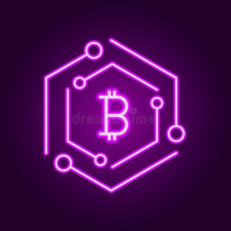 Icona moderna di tecnologia di Blockchain Vector il simbolo della catena di blocco o l'elemento di logo nella linea stile al neon royalty illustrazione gratis