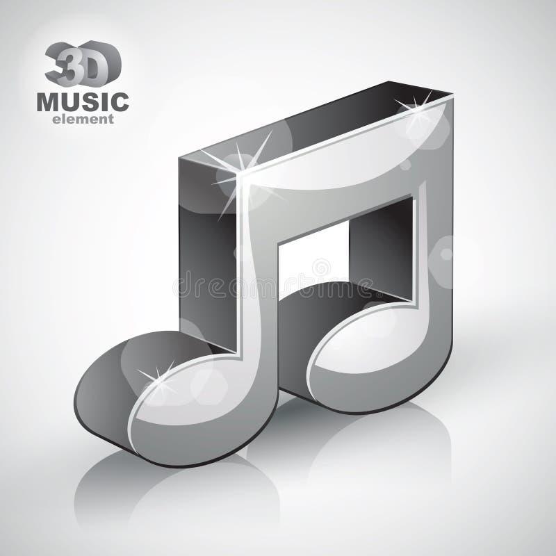 Icona moderna musicale metallica funky di stile della nota 3d isolata royalty illustrazione gratis