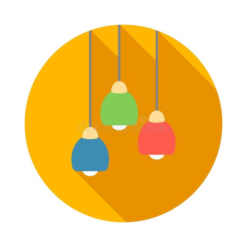Icona moderna a tre colori della plafoniera, stile piano illustrazione vettoriale