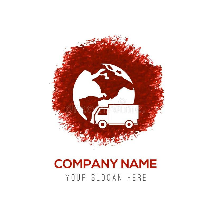 Icona mondiale di consegna - spruzzata rossa del cerchio dell'acquerello royalty illustrazione gratis