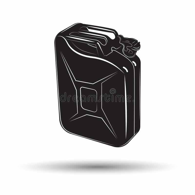 Icona monocromatica della scatola metallica della benzina royalty illustrazione gratis