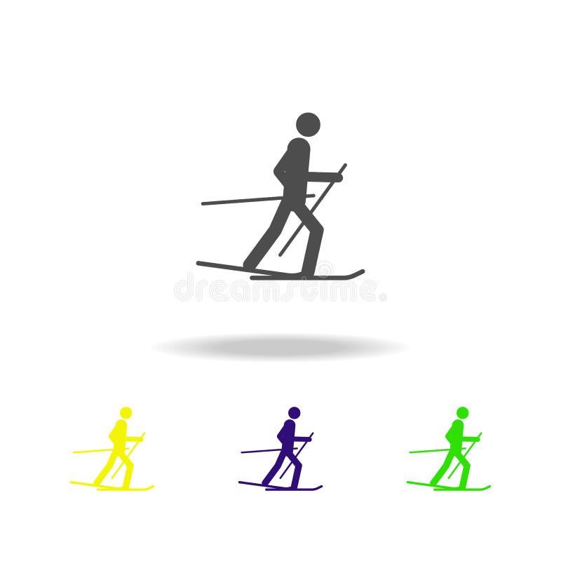 Icona multicolore isolata atleta dello sciatore della siluetta Disciplina dei giochi degli sport invernali Il simbolo, segni può  illustrazione vettoriale
