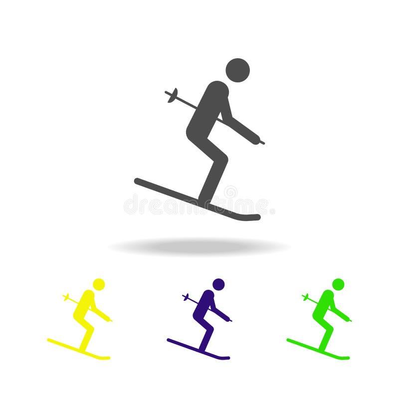 Icona multicolore isolata atleta dello sciatore della siluetta Disciplina dei giochi degli sport invernali Il simbolo, segni può  illustrazione di stock