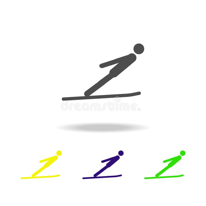 Icona multicolore isolata atleta di salto dello sciatore della siluetta Disciplina dei giochi degli sport invernali Il simbolo, s illustrazione vettoriale