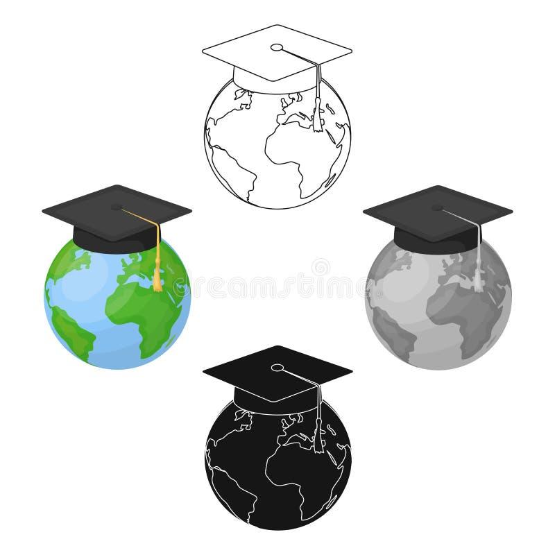 Icona multilingue del pianeta nello stile del fumetto isolata su fondo bianco Vettore delle azione di simbolo del traduttore e de royalty illustrazione gratis