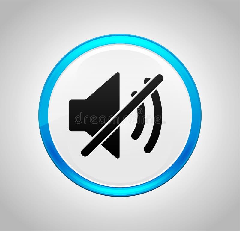 Icona muta dell'altoparlante intorno al pulsante blu illustrazione di stock