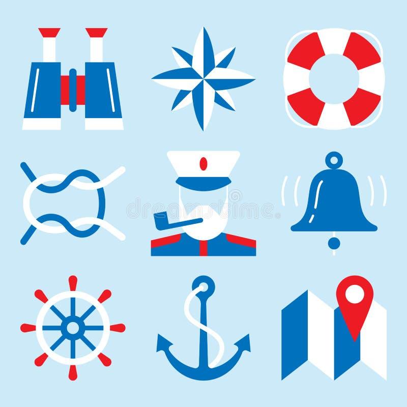 Icona nautica messa con gli elementi di navigazione marina royalty illustrazione gratis