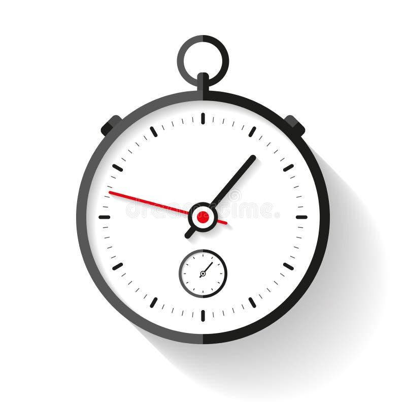 Icona nello stile piano, temporizzatore rotondo del cronometro su fondo bianco Orologio di sport Strumento di tempo Elemento di p illustrazione vettoriale