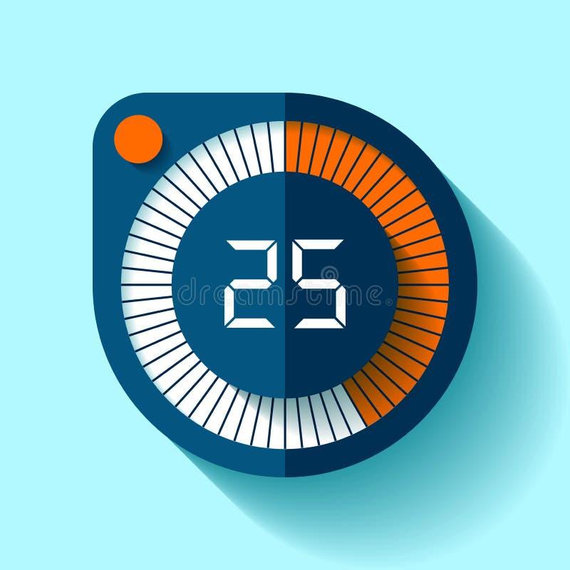 Icona nello stile piano, temporizzatore rotondo del cronometro sul fondo di colore Orologio di sport Elemento di progettazione di royalty illustrazione gratis