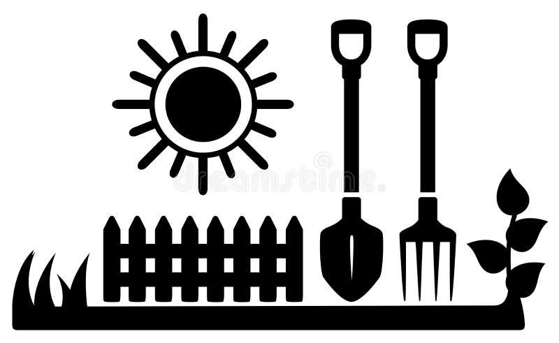 Icona nera con il sole e gli strumenti di giardinaggio illustrazione di stock