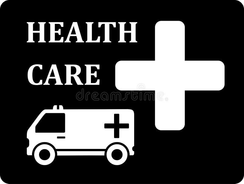 Icona nera con l'automobile dell'ambulanza illustrazione di stock