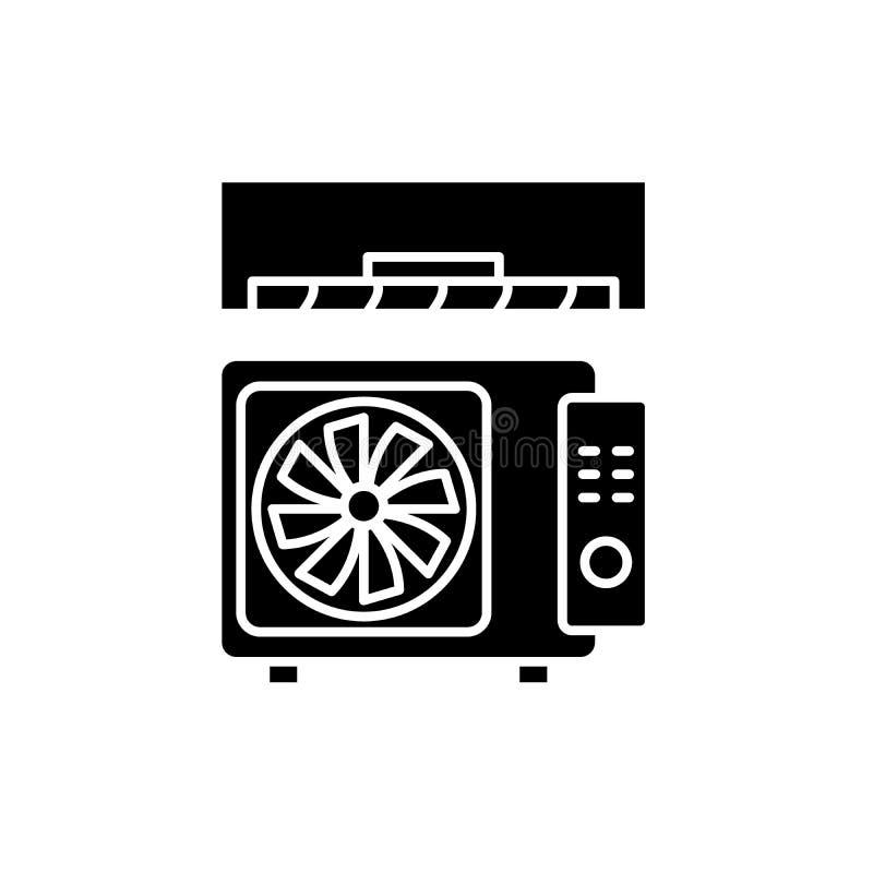 Icona nera del condizionamento d'aria, segno di vettore su fondo isolato Simbolo di concetto del condizionamento d'aria, illustra royalty illustrazione gratis