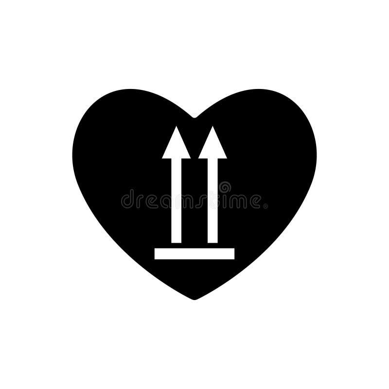 Icona nera del cuore questo lato su Marcatura del carico nel cuore Segno di giorno di biglietti di S. Valentino, emblema Frecce d illustrazione di stock