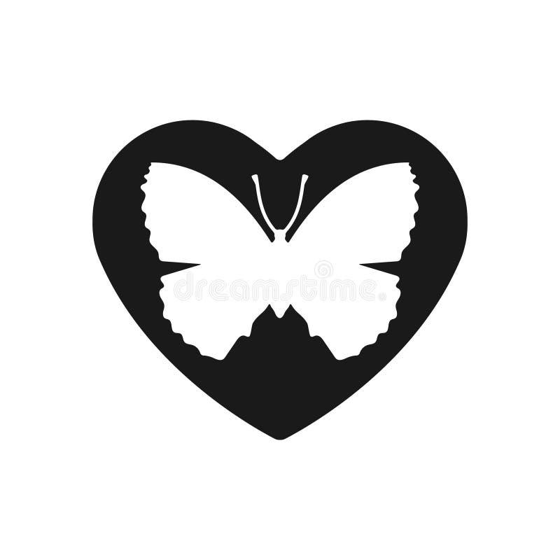 Icona nera del cuore, simbolo di amore Farfalla arancio nel cuore Segno di giorno di biglietti di S. Valentino, emblema, stile pi illustrazione vettoriale