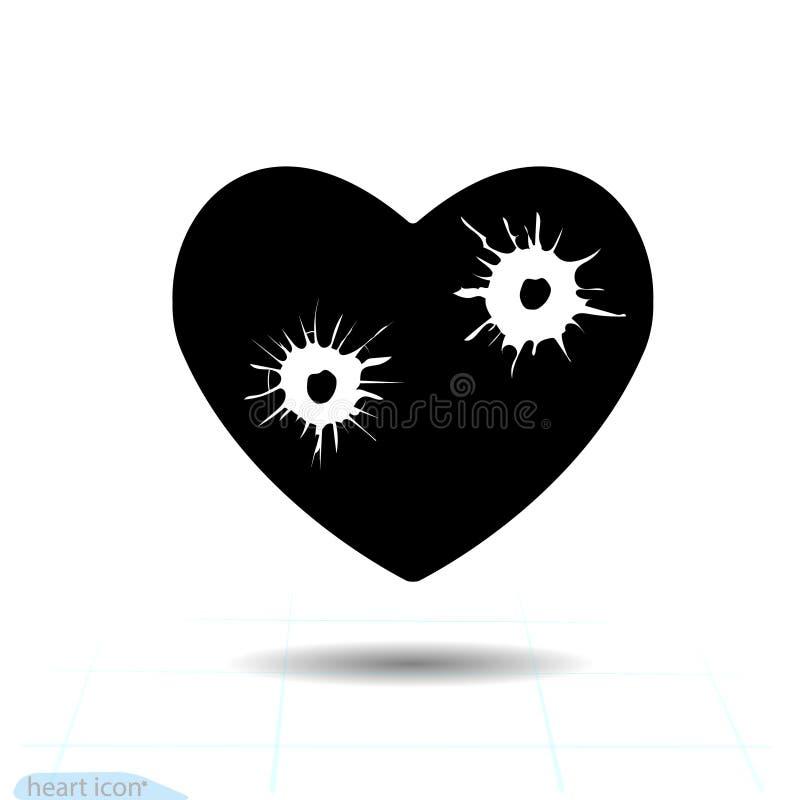 Icona nera del cuore, simbolo di amore Fori di pallottola nel cuore Segno di giorno di biglietti di S. Valentino per la congratul royalty illustrazione gratis