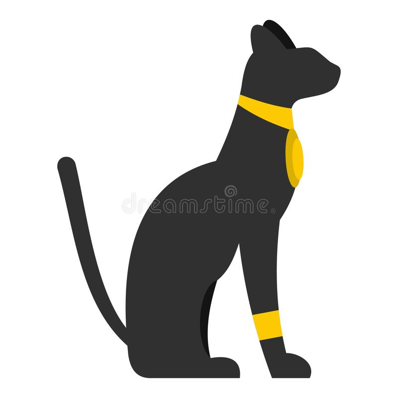 Icona nera del gatto egiziano di seduta isolata illustrazione di stock
