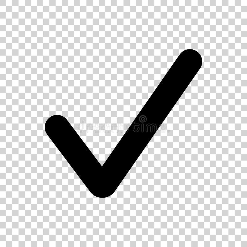 Icona nera del segno di spunta isolata su fondo trasparente illustrazione di stock