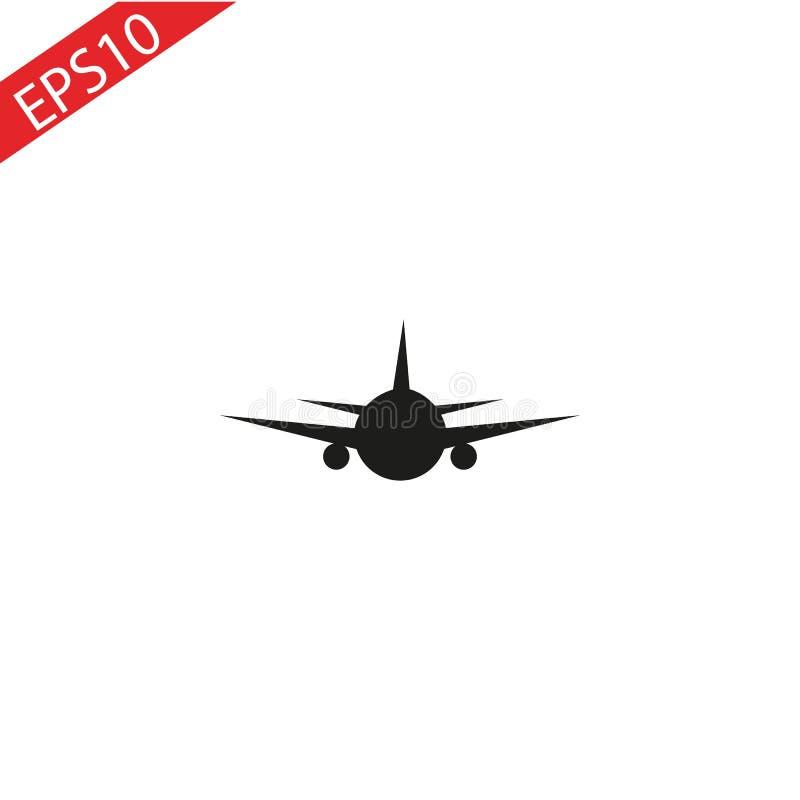 Icona nera dell'aeroplano con ombra Isolato su priorit? bassa grigia illustrazione moderna di vettore di progettazione di logo di royalty illustrazione gratis
