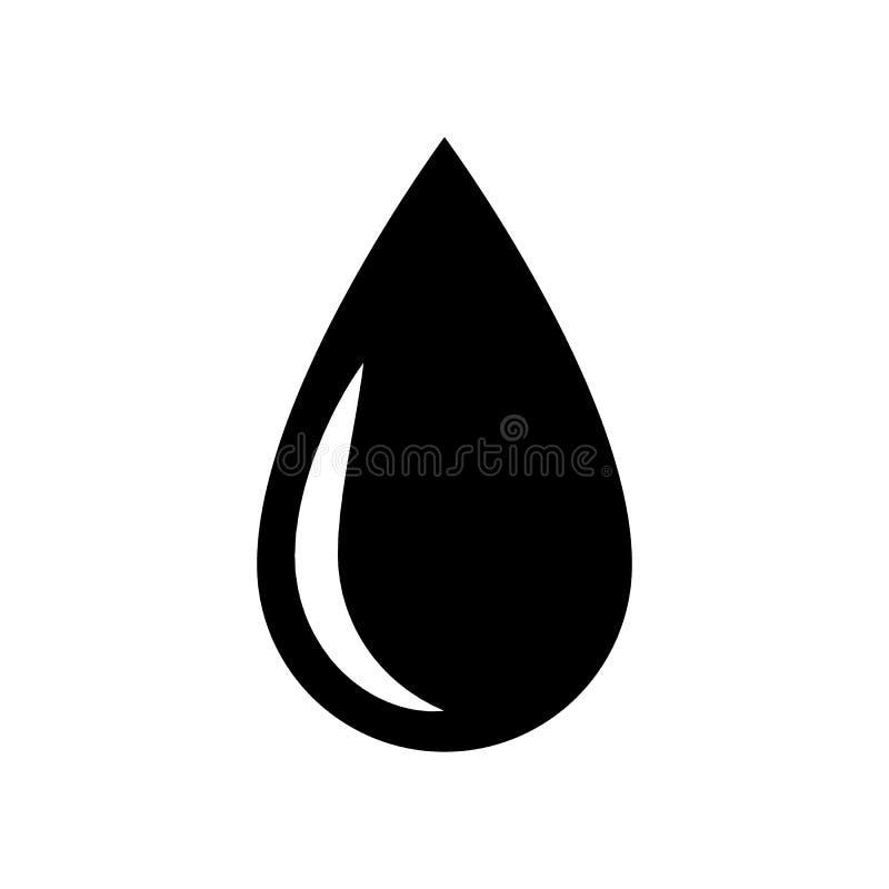 Icona nera della goccia di acqua Simbolo e segno di goccia dell'olio royalty illustrazione gratis