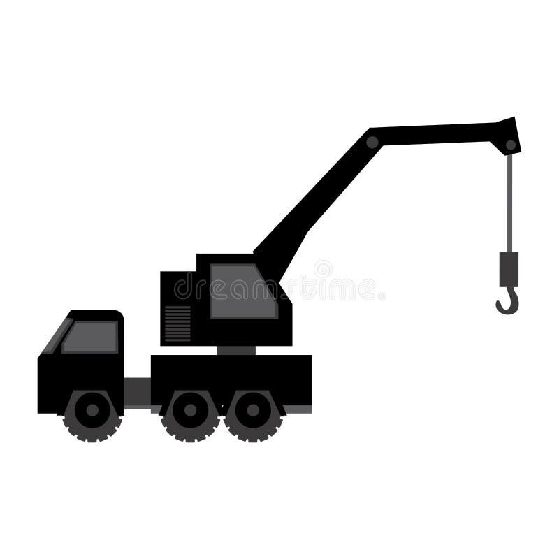 icona nera della gru dell'automobile illustrazione di stock