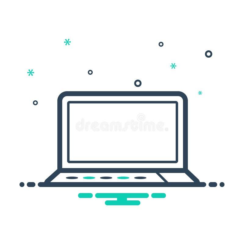 Icona nera della miscela per il computer portatile, la tecnologia e lappy illustrazione vettoriale