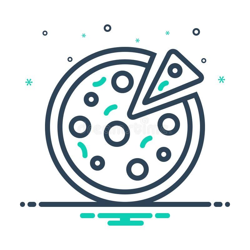 Icona nera della miscela per pizza, fetta dell'alimento illustrazione di stock