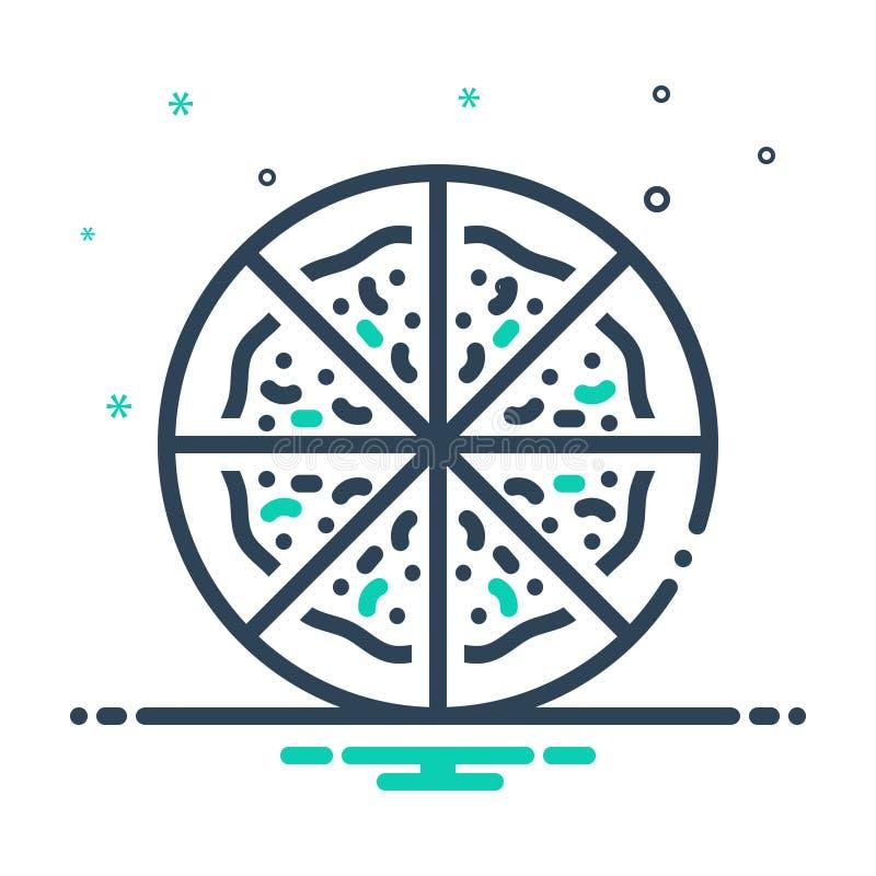 Icona nera della miscela per pizza, la fetta e fresco illustrazione vettoriale
