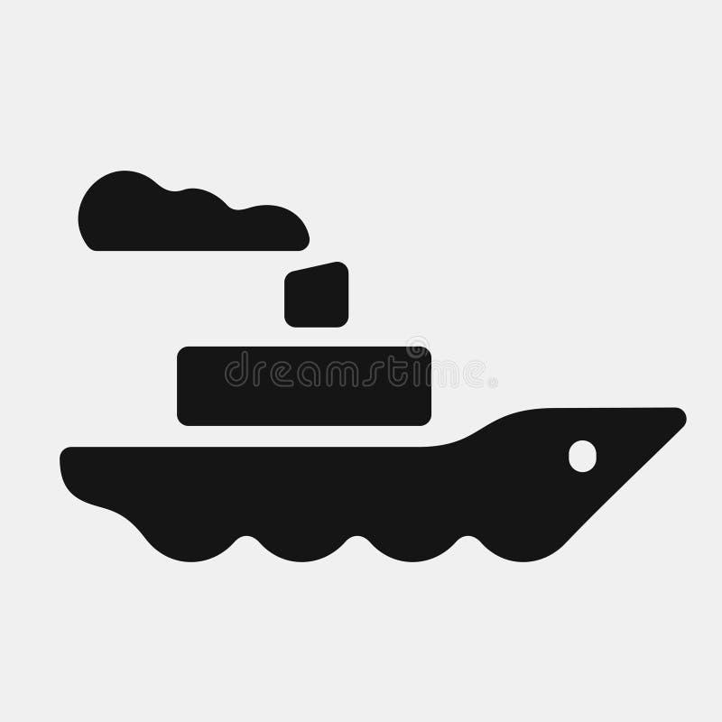 Icona nera della nave a vapore di colore royalty illustrazione gratis